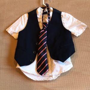 Boys button down w/ vest & tie